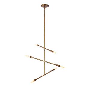 Line Aged Brass Six-Light 24-Inch Chandelier