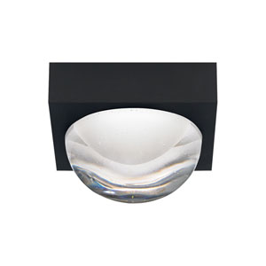 Sphere Rubberized Black LED Flush Mount with Cast Clear Glass