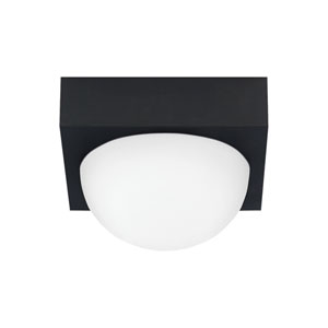 Sphere Rubberized Black LED Flush Mount with Frost Glass