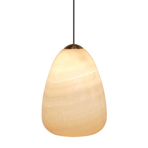 Onyx Satin Nickel One-Light Mini-Pendant with Teardrop Glass