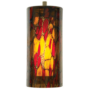 Abbey Amber/Red Monorail LED Satin Nickel Pendant