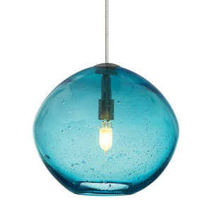 Isla Satin Nickel One-Light Seven-Inch Mini Pendant with Aqua Glass