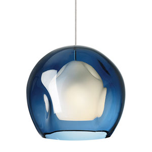 Jasper Satin Nickel One-Light Mini Pendant with Steel Blue Glass