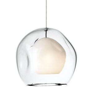 Jasper Satin Nickel One-Light Mini Pendant with Clear Glass