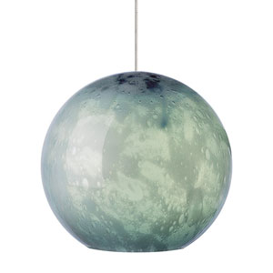Aquarii Satin Nickel One-Light Mini Pendant Globe with Steel Blue Glass