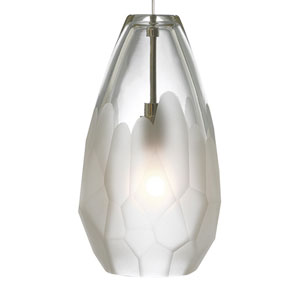 Briolette Bronze One-Light Mini Pendant with Frost Glass