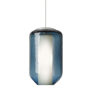 Mason Satin Nickel One-Light Mini Pendant with Steel Blue Glass and Opal Diffuser