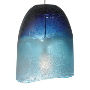 Chill Satin Nickel One-Light Mini-Pendant with Blue Glass