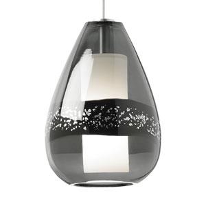 Mini-Miyu Satin Nickel Xenon Mini-Pendant with Gray Glass