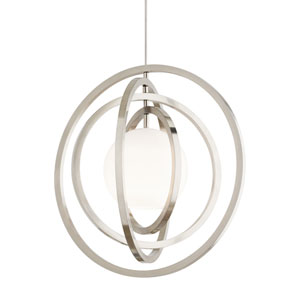Oreon Satin Nickel 12-Inch LED Monopoint Pendant
