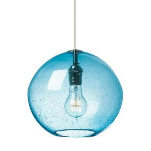 Isla Satin Nickel LED Mini-Pendant with Aqua Glass