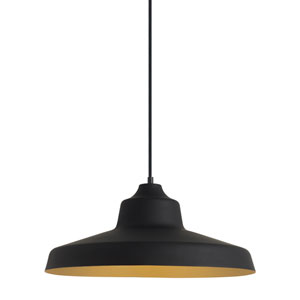 Zevo Black and Gold 18-Inch One Light Pendant