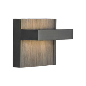 Ashland Bronze One-Light LED Wall Sconce with Grey Oak Decorative Insert