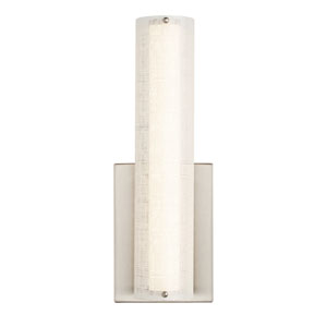 Jarvas Satin Nickel 4-Inch 2700K LED Wall Sconce with Linen Shade