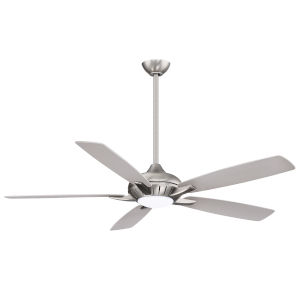 Dyno XL Brushed Nickel 60-Inch Smart Ceiling Fan with Silver Blades