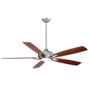 Dyno XL Brushed Nickel 60-Inch Smart Ceiling Fan with Medium Maple and Dark Walnut Blades