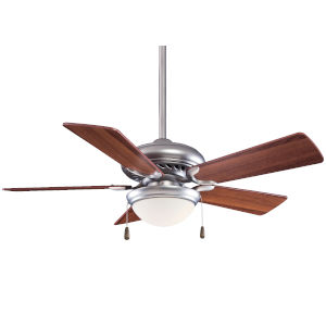 Supra Brushed Steel and Dark Walnut 44-Inch LED Ceiling Fan