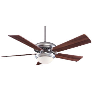 Supra Brushed Steel and Dark Walnut 52-Inch LED Ceiling Fan