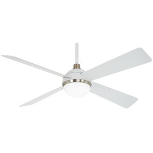 Orb Flat White and Brushed Nickel 54-Inch LED Ceiling Fan