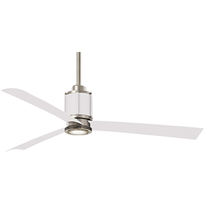 Gear Brushed Steel and Flat White LED Ceiling Fan