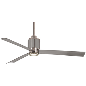 Gear Polished Nickel and Brushed Steel LED Ceiling Fan
