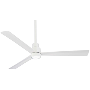 Simple Flat White Ceiling Fan