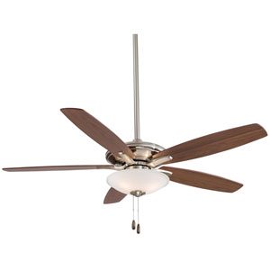 Mojo 52-Inch Ceiling Fan in Brushed Nickel with Frosted White Glass and Five Reversible Walnut Blades