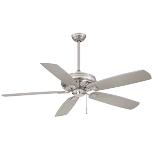 Sunseeker 60-Inch Ceiling Fan in Brushed Nickel Wet with Five Silver Blades