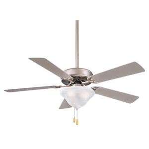 Contractor 52-Inch Ceiling Fan in Brushed Steel with Etched Opal Glass and Four or Five Silver Blades