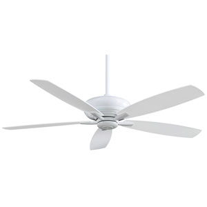 Kola 60-Inch Ceiling Fan in White with Five Blades