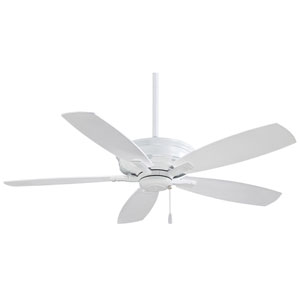 Kafe 52-Inch Ceiling Fan in White with Five Blades