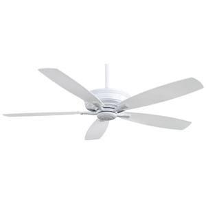Kafe 60-Inch Ceiling Fan in White with Five Blades