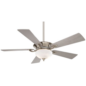 Delano 52-Inch Ceiling Fan in Polished Nickel with White Frosted Glass and Five Silver Blades