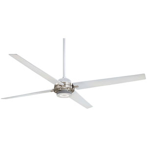 Spectre Flat Brushed Nickel 60-Inch Ceiling Fan with White Blades