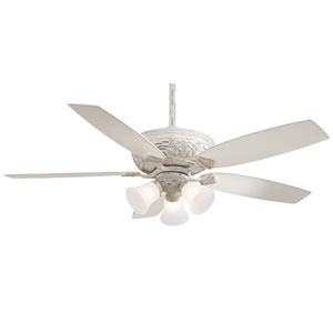 Classica Gallery Edition 52-Inch Ceiling Fan in Provencal Blanc with Etched Glass and Five Blades