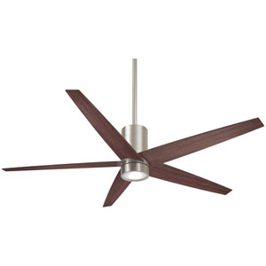 Symbio Brushed Nickel and Dark Walnut One-Light LED Ceiling Fan