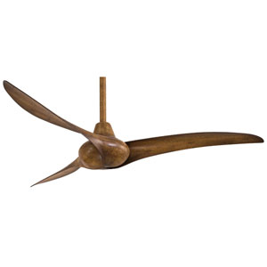Wave 52-Inch Ceiling Fan with Three Blades in Distressed Koa Finish