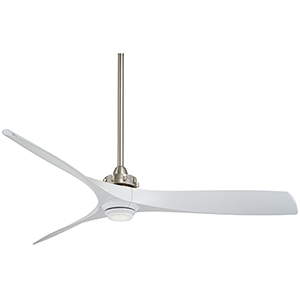 Aviation Brushed Nickel and White 60-Inch LED Ceiling Fan