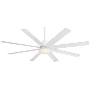 Slipstream 65-Inch Ceiling Fan in Flat White with Etched Opal Glass and Eight Blades
