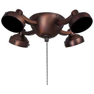 Dark Brushed Bronze Four Light Fluorescent Ceiling Fan Light Kit