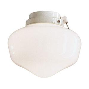Wet Location White Schoolhouse Fan Light