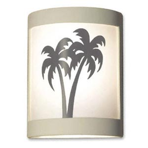 Twin Palms Satin White Wall Sconce