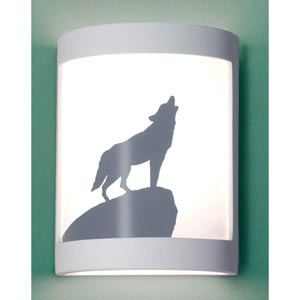 Lone Wolf Satin White Wall Sconce