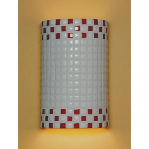 Checkers White and Red Wall Sconce
