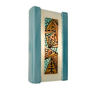 Abstract Teal Crackle and Turquoise Sconce