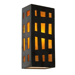 Grid Gunmetal and Tangelo Sconce