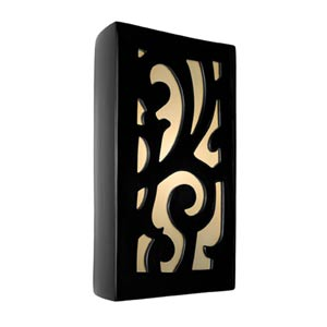 Cathedral Black Gloss and White Frost Sconce