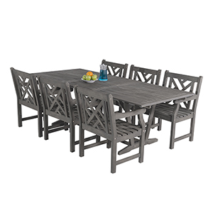 Renaissance Outdoor 7-piece Hand-scraped Wood Patio Dining Set with Extension Table
