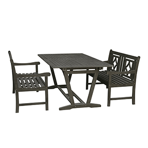 Renaissance Grey 3-piece Wood Patio Extendable Table Diamond Dining Set with Two 48-Inch Benches