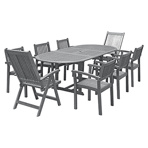 Renaissance Hand-scraped Wood Outdoor Patio Dining Set with Extension Table, 9-Piece